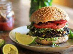 Baja Black Bean Burgers and Creamy Lime Coleslaw