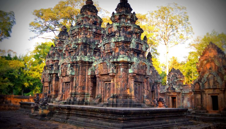 Meditating at the Banteay Srei in Cambodia