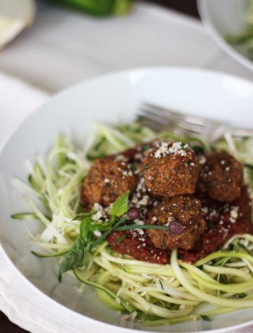 Raw Spaghetti and Veggie Balls
