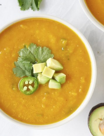 Butternut Squash Jalapeño Soup w/ Lemon & Avocado (Oil and Salt-free)